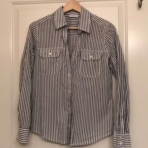 White and blue striped button down